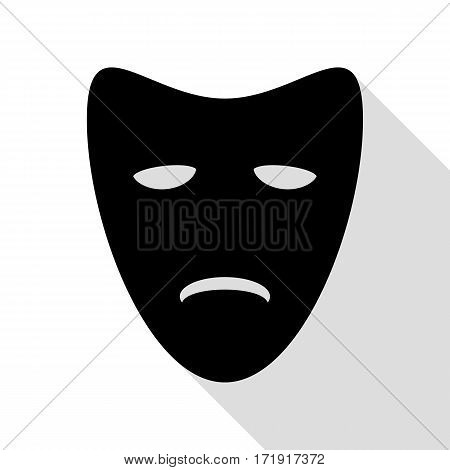 Tragedy theatrical masks. Black icon with flat style shadow path.