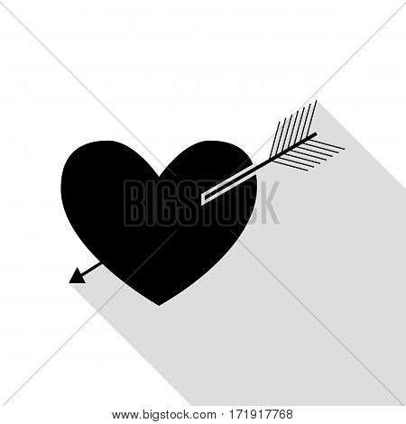 Arrow heart sign. Black icon with flat style shadow path.