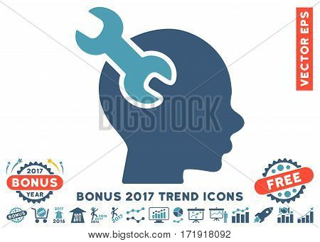 Cyan And Blue Brain Service Wrench pictogram with bonus 2017 trend icon set. Vector illustration style is flat iconic bicolor symbols white background.