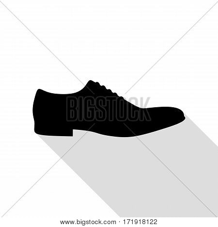 Men Shoes sign. Black icon with flat style shadow path.