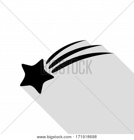 Shooting star sign. Black icon with flat style shadow path.