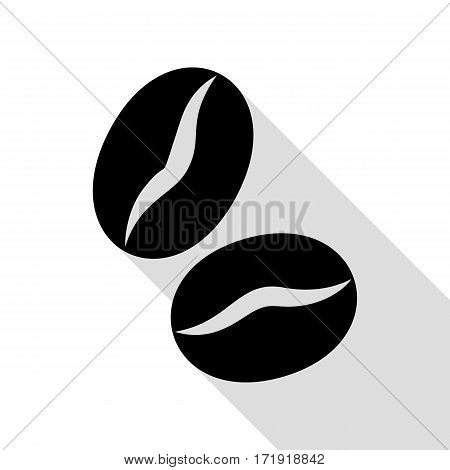 Coffee beans sign. Black icon with flat style shadow path.