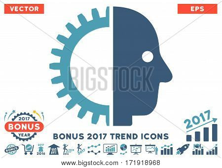 Cyan And Blue Cyborg Head pictogram with bonus 2017 year trend pictograph collection. Vector illustration style is flat iconic bicolor symbols white background.