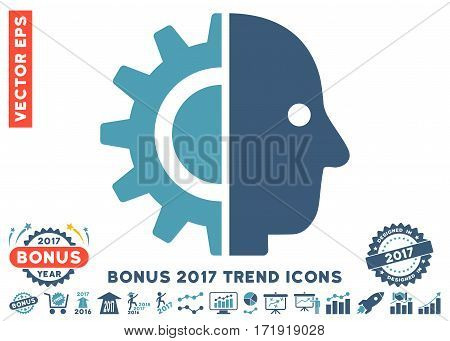 Cyan And Blue Cyborg Head pictograph with bonus 2017 trend design elements. Vector illustration style is flat iconic bicolor symbols white background.