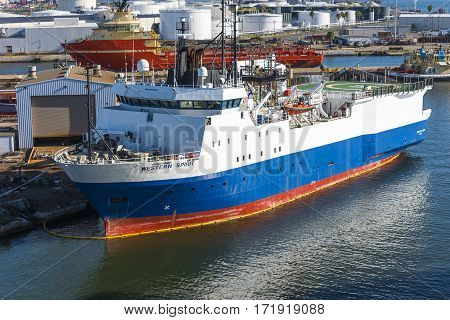 Tampa Florida - February 11th 2016: Oceanographic ship Western Spirit in Tampa Bay for repairs February 11th Tampa Florida