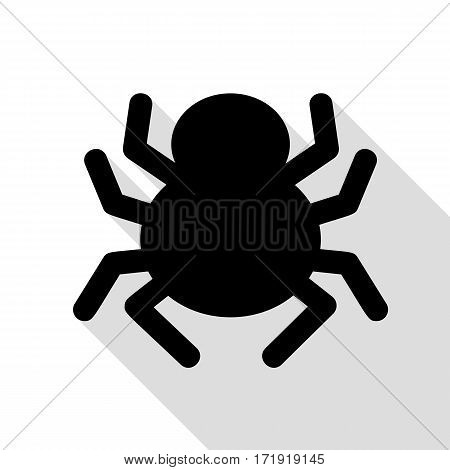 Spider sign illustration. Black icon with flat style shadow path.