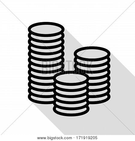 Money sign illustration. Black icon with flat style shadow path.