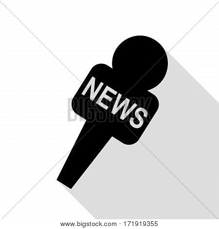 TV news microphone sign illustration. Black icon with flat style shadow path.