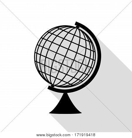 Earth Globe sign. Black icon with flat style shadow path.