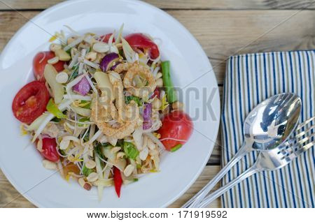 Som Tum Papaya salad with whit rice noodle Thai food Thailand