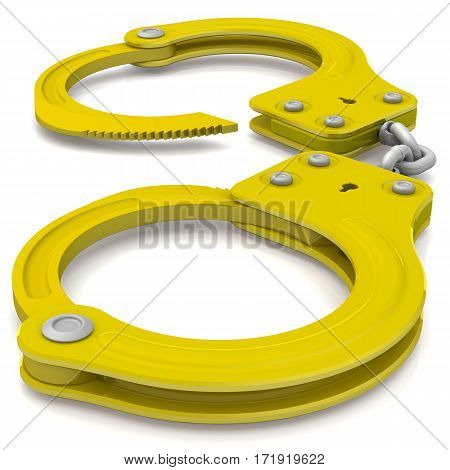 Golden handcuffs - isolated on white background. 3D Illustration
