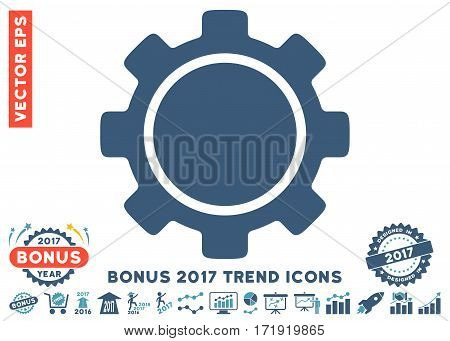 Cyan And Blue Gear pictograph with bonus 2017 year trend pictograph collection. Vector illustration style is flat iconic bicolor symbols white background.
