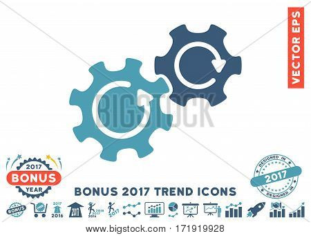 Cyan And Blue Gears Rotation icon with bonus 2017 trend pictures. Vector illustration style is flat iconic bicolor symbols white background.