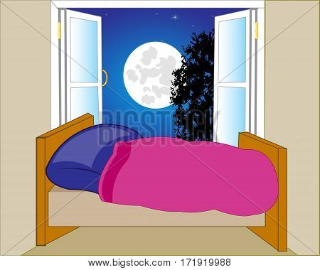 Room with bed and open window with night landscape