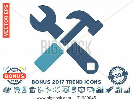 Cyan And Blue Hammer And Wrench pictogram with bonus 2017 year trend pictograms. Vector illustration style is flat iconic bicolor symbols white background.