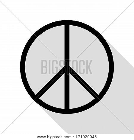 Peace sign illustration. Black icon with flat style shadow path.