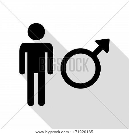Male sign illustration. Black icon with flat style shadow path.
