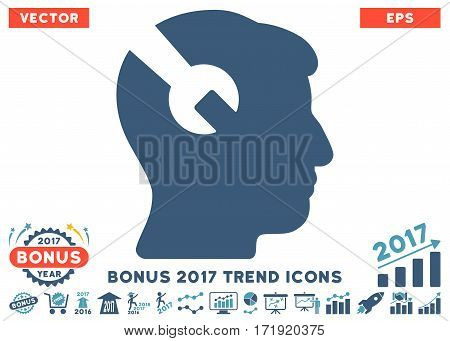 Cyan And Blue Head Surgery Wrench pictogram with bonus 2017 trend pictograms. Vector illustration style is flat iconic bicolor symbols white background.