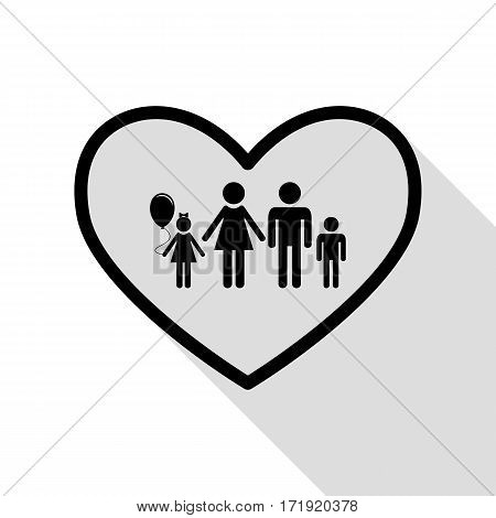 Family sign illustration in heart shape. Black icon with flat style shadow path.