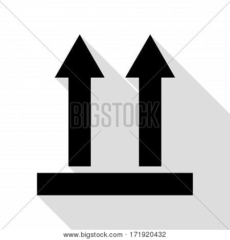 Logistic sign of arrows. Black icon with flat style shadow path.