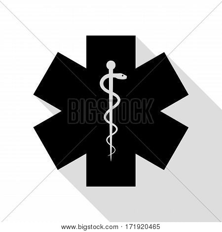 Medical symbol of the Emergency or Star of Life. Black icon with flat style shadow path.