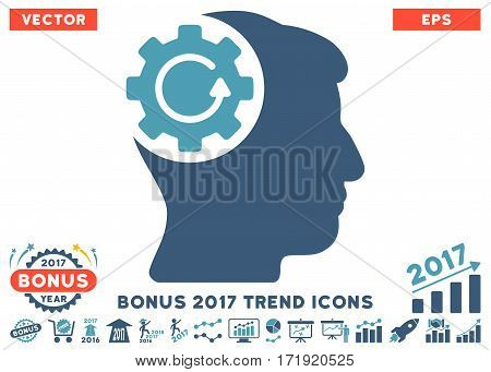 Cyan And Blue Intellect Gear Rotation icon with bonus 2017 year trend icon set. Vector illustration style is flat iconic bicolor symbols white background.
