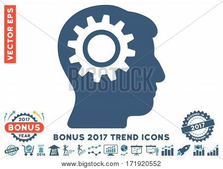 Cyan And Blue Intellect Gear pictogram with bonus 2017 trend elements. Vector illustration style is flat iconic bicolor symbols white background.