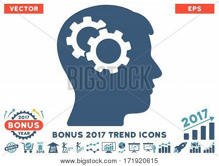 Cyan And Blue Intellect Gears icon with bonus 2017 year trend clip art. Vector illustration style is flat iconic bicolor symbols white background.