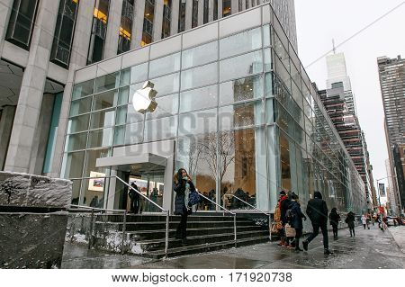 New York February 9 2017: The front of the 5th Avenue Apple store's new location previously occupied by FAO Schwartz.