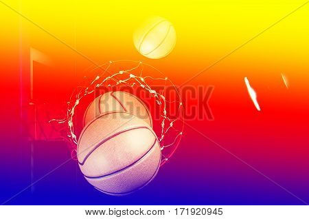 Basketball on  black background with light effect