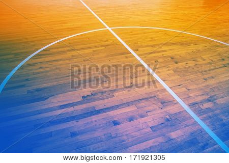 Close up wooden floor basketball court with color filter