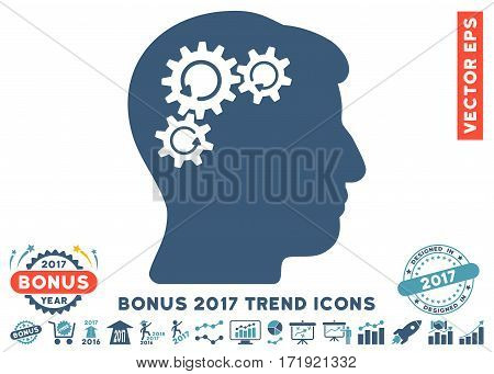 Cyan And Blue Mind Gear Rotation icon with bonus 2017 year trend design elements. Vector illustration style is flat iconic bicolor symbols white background.
