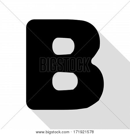 Letter B sign design template element. Black icon with flat style shadow path.