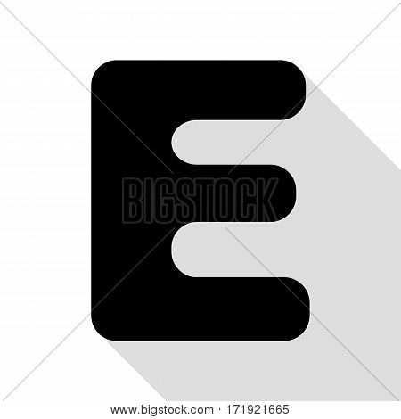 Letter E sign design template element. Black icon with flat style shadow path.