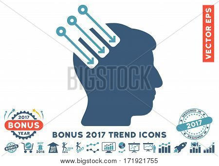 Cyan And Blue Neuro Interface pictogram with bonus 2017 year trend symbols. Vector illustration style is flat iconic bicolor symbols white background.
