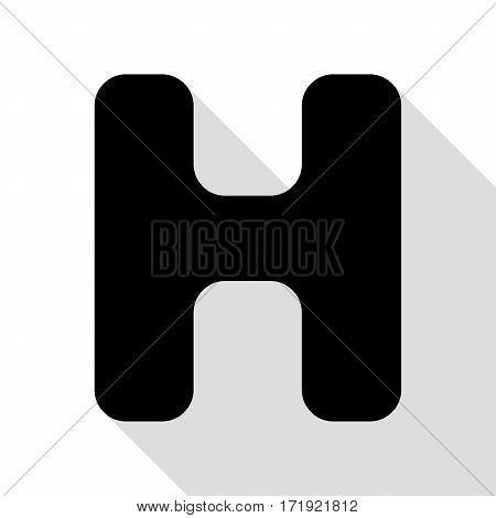 Letter H sign design template element. Black icon with flat style shadow path.