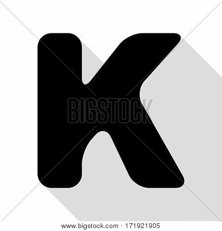 Letter K sign design template element. Black icon with flat style shadow path.