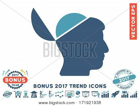 Cyan And Blue Open Brain icon with bonus 2017 year trend pictograms. Vector illustration style is flat iconic bicolor symbols white background.