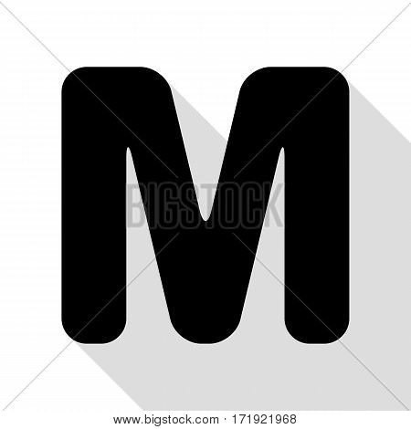 Letter M sign design template element. Black icon with flat style shadow path.