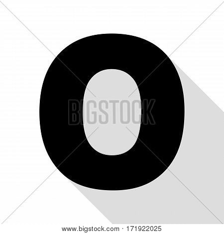 Letter O sign design template element. Black icon with flat style shadow path.