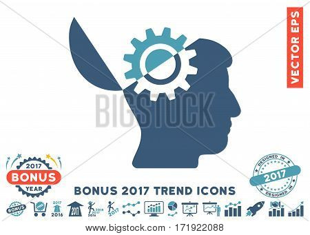 Cyan And Blue Open Mind Gear pictogram with bonus 2017 year trend pictograms. Vector illustration style is flat iconic bicolor symbols white background.