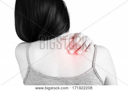Backache Or Painful Shoulder In A Woman Isolated On White Background. Clipping Path On White Backgro