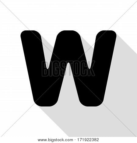 Letter W sign design template element. Black icon with flat style shadow path.