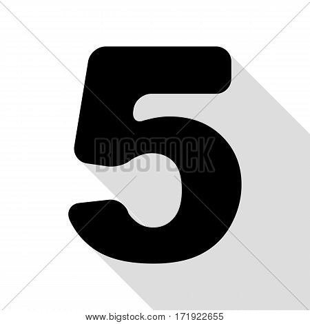 Number 5 sign design template element. Black icon with flat style shadow path.