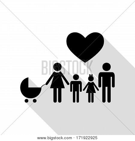 Family sign with heart. Husband and wife are kept children's hands. Black icon with flat style shadow path.