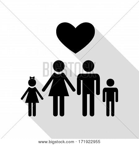 Family symbol with heart. Husband and wife are kept children's hands. Love. Black icon with flat style shadow path.