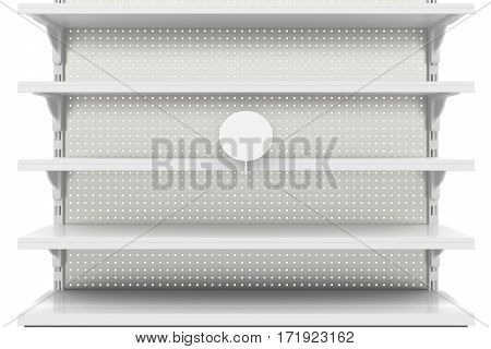 Empty Supermarket Shelves Isolated On White Background