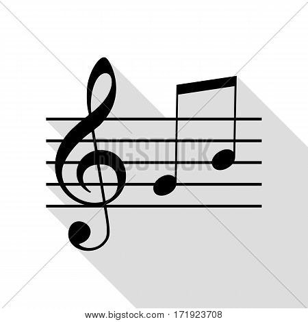 Music violin clef sign. G-clef and notes G, H. Black icon with flat style shadow path.