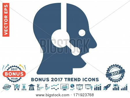 Cyan And Blue Operator pictograph with bonus 2017 trend pictograph collection. Vector illustration style is flat iconic bicolor symbols white background.