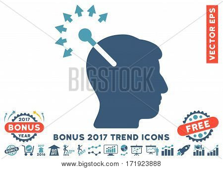 Cyan And Blue Optical Neural Interface pictograph with bonus 2017 trend images. Vector illustration style is flat iconic bicolor symbols white background.